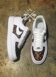 new style 346ee 9b09e Custom Air Force 1, Louis Vuitton Sneakers Women, Louis Vuitton Trainers,  Shoes Heels