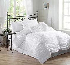 7 Piece Chic Ruched White Duvet Cover Set California Cal King Throw Pillows | eBay