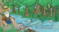 kids book art spread of man sitting by the stream