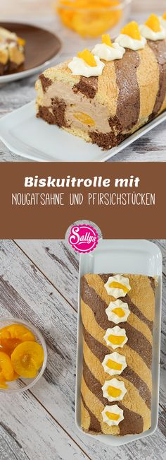 Leckere Biskuitrolle mit Nougatsahne und Pfirsichstücken  #Globus