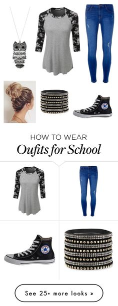 """Back to School"" by pam-casner on Polyvore featuring Dorothy Perkins, LE3NO, Converse and Mudd"