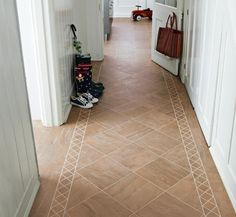 Hall with Karndean Knight Tile Jura Slate lat at with Portobello border and Stone stripping. Karndean Flooring, Hallway Decorating, Vinyl Tile Flooring, Shed Makeover, Hallway Flooring, Carpet Flooring, Flooring, Karndean Knight Tile, Tiled Hallway