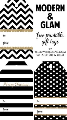 Black & White Gift Tags for @tatertotsjello
