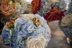 Image result for orange roses blue hydrangea