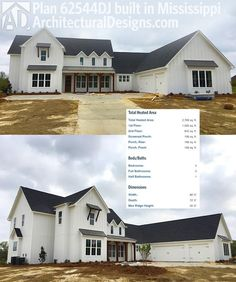 Architectural Designs Modern Farmhouse Plan 62544DJ built by our client in Mississippi. He built it in reverse. And kept very close to the plans as designed. So exciting!  Ready when you are. Where do YOU want to build?  Specs-at-a-glance   4 beds   3.5 baths   2,700+ sq. ft.