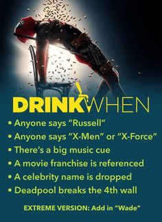 This drinking game is not recommended for small children. Play the Deadpool 2 Drinking Game. Drink When Another movie franchise is referenced, Deadpool breaks the wall. Tv Show Drinking Games, Adult Drinking Games, Drinking Games For Parties, Fun Party Games, Adult Party Games, Deadpool, Fun Drinks, Alcoholic Drinks, Drunk Games