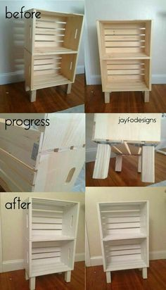diy Diy crate shelf, book case, end table, night stand, Wooden Storage Crate - Unfinished Wood Box - Wooden Storage Crates, Crate Storage, Wood Crates, Wood Crate Shelves, Storage Ideas, Diy Storage Easy, Storage Design, Diy Wooden Crate, Storage Organization