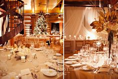 Elegant Gold Winter Wedding // tall gold centerpieces and Christmas tree with white sparkly lights