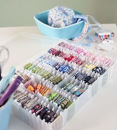 Great storage idea for little bits of ribbon