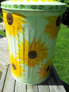 Decorative Hand Painted 20 Gallon Galvanized Metal Trash/Garbage/Storage  Can w/Side Handles and Tight  - White Background by krystasinthepointe on Etsy https://www.etsy.com/listing/191506856/decorative-hand-painted-20-gallon