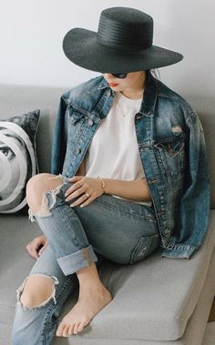 Pair Your Denim Jacket With a Dramatic Hat