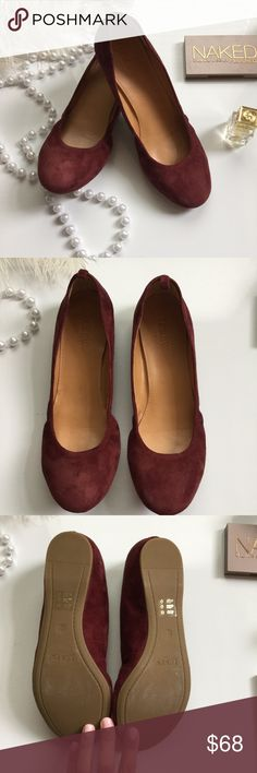 Anya Suede Ballet Flats NWT. Beautiful and comfortable suede flats. Perfect for the workplace or for any outing. One of my favorite pairs, but the size is too small for me. The color is cabernet. Shoes will come w/ box. J. Crew Shoes Flats & Loafers