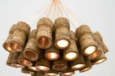 """One of a Kind """"Celebration Chandelier"""" Made from Recycled Champagne Corks 