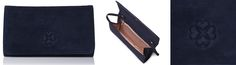 LK Bennett 'Frome' navy suede clutch, first noted July 28/29 at 2014 Commonwealth Games in Glasgow, Scotland