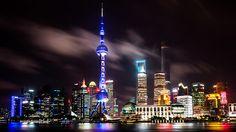 Shanghai in a cloudy night