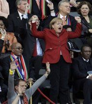 Germany chancellor Angela Merkel enjoys cheering for her national soccer team, as she did at the 2010 World Cup. (AP)