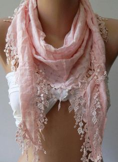 Red  Elegance Shawl / Scarf with Lace Edge by womann on Etsy, $16.90
