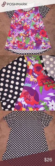 💕 LuLaRoe Classic Tee 😍 LuLaRoe Classic Tee • Multi Color Floral Front w/ B&W Polka Dot Back • Gently Used Condition • ❤️ This Fun Print LuLaRoe Tops Tees - Short Sleeve