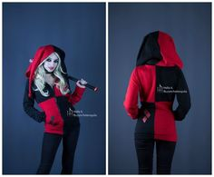 Harley Quinn inspired hoodie by HelenQuila on DeviantArt- want this for Halloween! Harley Quinn Disfraz, Harley Quinn Cosplay, Joker And Harley Quinn, Harley Costume, Halloween Kostüm, Halloween Costumes, Harley Queen, Fantasias Halloween, Gotham City
