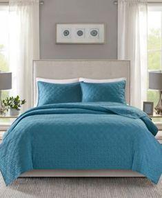 Madison Park Linnette King/california King Coverlet Set In Teal California King Quilts, Teal Quilt, Teal Bedspread, Single Quilt, Ruffle Bedding, Teal Bedding, Quilted Bedspreads, Fine Linens, Quilt Sets