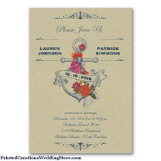 Nautical Sophistication Invitation sets the tone for your nautical wedding with its roses and anchor design on the front and nautical stripes on the back.   www.PrintedCreationsWeddingStore.com    #nauticalweddinginvitations  #nauticalwedding