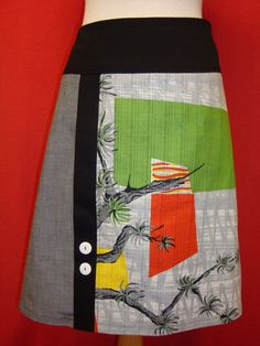 Pretty skirt pieced from remnants | by Berserk use up small pieces of woven fabrics a-line applique pieced skirt