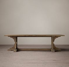 Reclaimed Pine Trestle Rectangular Dining Table:Our reclaimed-pine table bears the construction and design hallmarks of the early century, when fine craftsmanship and simple forms were sought and prized. Distressed Wood Dining Table, Expandable Table, Farmhouse Table Plans, Condo Furniture, Trestle Dining Tables, Pine Table, Got Wood, Rustic Style, Outdoor Decor