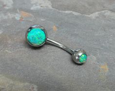 Light Green Fire Opal Belly Button Jewelry Ring by MidnightsMojo, $20.00