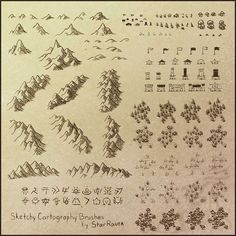 Perfect for my pirate map! Sketchy Cartography Brushes by StarRaven in both PNG and Photoshop ABR format.