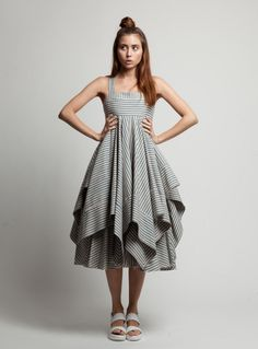 Fine Blue Stripe Trapeze Dress by Kelly Shaw / Dresses | Young British Designers