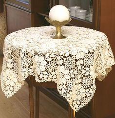 Beżowa serweta koronkowa. Ręcznie wykonana na szydełku.