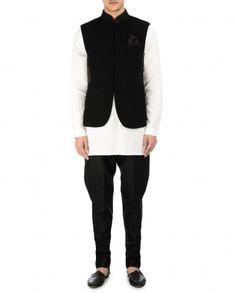 Texture Jet Black Waistcoat by Tarun Tahiliani