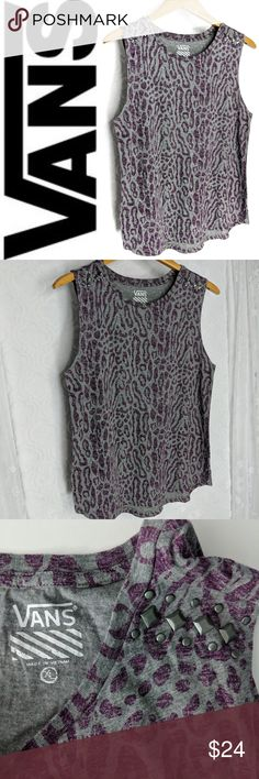 3105feedca3 VANS Leopard Print Studded Muscle Tank Sz XL Condition  Excellent gently  pre-owned
