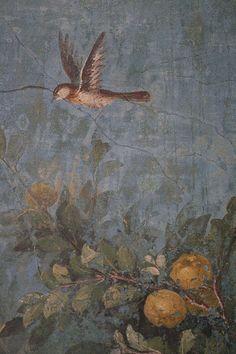 Roman fresco detail with bird and fruit, Villa of Livia, Prima Porta by raggi di sole, via Flickr