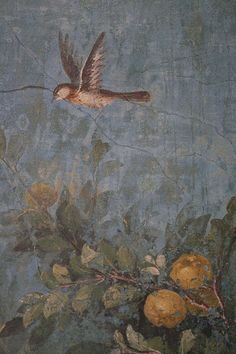 Roman fresco detail with bird and fruit, Villa of Livia, Prima Porta