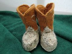 Hand-knitted cowboy boot booties 0 - 3 months  tan multi mustard