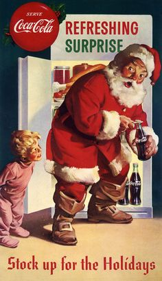Pop Christmas. Vintage Coca-Cola Christmas ad. $15 #advertisement #santa #coke #christmas