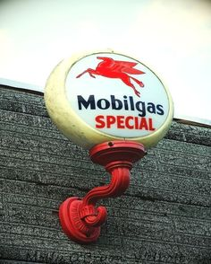 OLD Gas Station Sign Photograph, Gas Station Print, MobilGas Mobil Sign, Pegasus in Red, Garage Art, Man Cave Decor. $18.00, via Etsy.