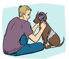 Hawkeye and Pizza Dog