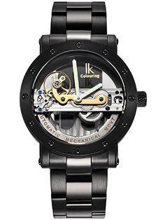 Alienwork IK Reloj Automático esqueleto mecánico Resistente al agua 5ATM Acero inoxidable plata negro 98393G-A