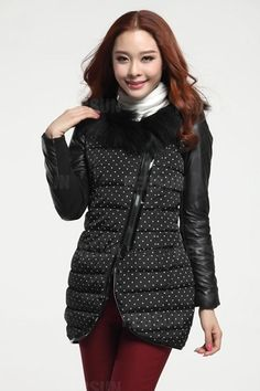 Fur Collar Quilted Coat with Leather Sleeves