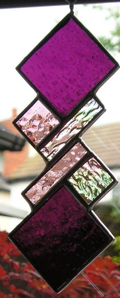 Purple, Pink and Clear Iridised stained glass Abstract, geometric, suncatcher by JustinesArtInGlass - on Etsy and Ebay