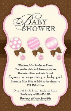 Pink And Brown Baby Rattles Shower Invitation