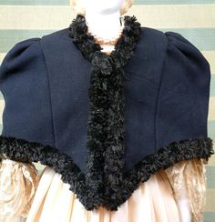 Tailored Opera Cape C. 1860 With Black Silk Fringe Trim In Rare Large from kathylibratysantiques on Ruby Lane