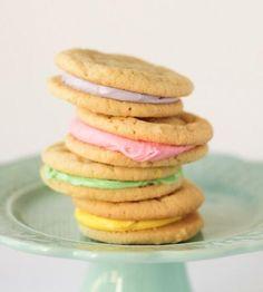 Pastel sugar cookie sandwiches.