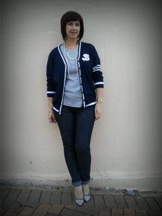 Skinny jeans and a baseball inspired cardigan (Truworths)  Two-toned shoes