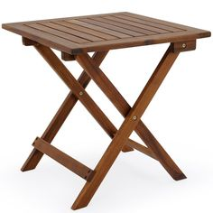 From Deuba Acacia Wood Bistro Table Coffee Side Snack Table Solid Wooden Pre-oiled Brown Wooden Garden Table, Metal Side Table, Wood Patio, Solid Wood Dining Table, Wooden Tables, Patio Railing, Folding Furniture, Garden Furniture Sets, Outdoor Garden Furniture