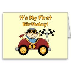 Red Race Car 1st Birthday Tshirts and Gifts Card