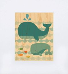 (unframed) Whale with Baby on Wood. By Lorena Siminovich. $15