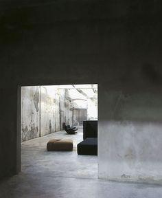 renovated sock factory in Brescia, Italy. concrete interior. Bc.